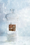 Snow Globe With Country Cottage Royalty Free Stock Photo