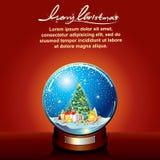 Snow globe with Decorated Christmas Tree Stock Image