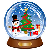 Snow globe decorated snowman Stock Photos