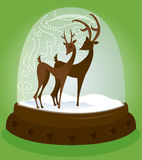 Snow Globe - Deer. Reindeer couple in a holiday snow globe - great for Christmas designs Stock Illustration