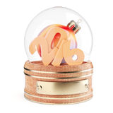 Snow globe with 2016 digits and christmas bauble. Isolated on white background. 3d render Royalty Free Stock Photography