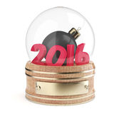 Snow globe with 2016 digits and christmas bauble. Isolated on white background. 3d render Stock Photos
