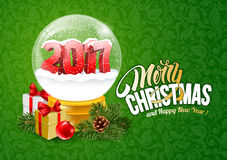 Snow Globe with 2017 digits. Christmas Greeting with Christmas Snow Globe. Magic Ball With 2017 Digits and Flying Snowflakes. Realistic Vector Stock Illustration Royalty Free Stock Images