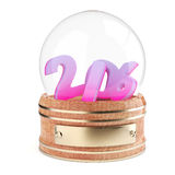 Snow globe with 2016 digits. Isolated on white background. 3d render Royalty Free Stock Images