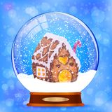 Snow globe with gingerbread house vector background royalty free illustration