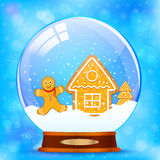 Snow globe and gingerbread stock illustration
