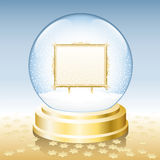 Snow Globe Golden Frame Blank. Snow globe with golden frame to insert any photo or text Stock Image