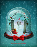Snow Globe. Greeting card or poster with snow globe Christmas. Computer graphics Stock Photography