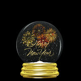 Snow Globe - Happy New Year Fireworks Royalty Free Stock Images