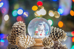Snow globe with happy snowman  on christmas tree blured backgrou Royalty Free Stock Photos