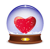 Snow globe with heart Royalty Free Stock Image