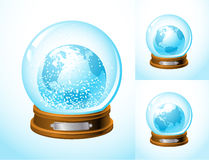 Snow-globe-home-3. Realistic snow globe with earth inside ( Europe and North and South America sides are included Royalty Free Stock Photo