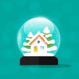 Snow globe house, snowglobe home, merry christmas, new year gift. Snow globe house vector illustration, snowglobe home snowdrift, snowfall , merry christmas snow Stock Image