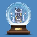 Snow globe with a house under the snow. Christmas glass ball with a house under the snow. Xmas design element. New Year gift. Merry Christmas. Vector Royalty Free Stock Images