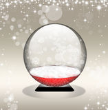 Snow Globe In Golden Background Stock Photo