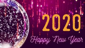 Snow globe and inscription `Happy new year 2020`, pink and lilac background with falling rain particles.