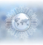 Snow globe with map. A vector illustration of a snow globe with map in a snowflake frame on the blurred background. Includes transparent objects, blending modes Royalty Free Stock Images