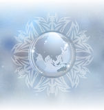 Snow globe with map Royalty Free Stock Photo