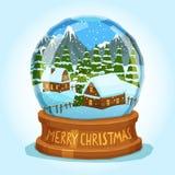 Snow Globe Merry Christmas Card Stock Image