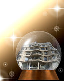 Snow globe with miniature La Pedrera, Barcelona Royalty Free Stock Images
