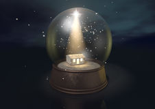 Snow Globe Nativity Scene Night Royalty Free Stock Photography
