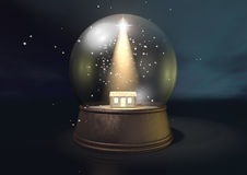 Snow Globe Nativity Scene Night Royalty Free Stock Image