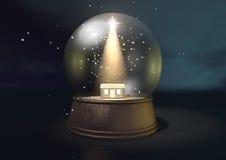 Snow Globe Nativity Scene Night Royalty Free Stock Image