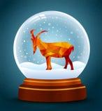 Snow globe new year of goat. Vector stock illustration
