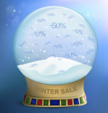 Snow globe with percents discounts. Vector illustration Stock Photos