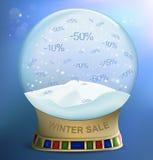 Snow globe with percents discounts Stock Photos