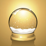 Snow Globe. Realistic vector snow globe with falling snowflakes and a gold background Royalty Free Stock Photos