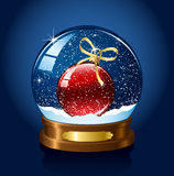 Snow globe with red christmas ball vector illustration