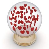 Snow globe with red hearts Stock Images