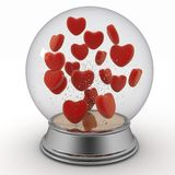 Snow globe with red hearts Royalty Free Stock Image