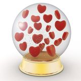 Snow globe with red hearts Royalty Free Stock Photo