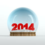 2014 snow globe. Snow globe with red 2014 text in it Stock Image