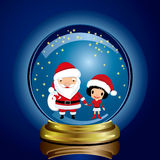 Snow-globe santa claus and girl Stock Images