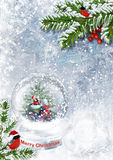 Snow globe with Santa on frost background Royalty Free Stock Photography