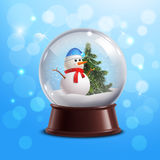 Snow globe with snowman. Snow globe on blue background with snowman and christmas tree inside vector illustration Royalty Free Stock Photos