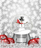 Snow Globe Snowman and Christmas Tree Ornaments. Water Snow Globes with Snowman Snowflakes and Christmas Tree Ornaments Illustration Royalty Free Stock Images