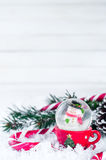 Snow globe with snowman on festive background Royalty Free Stock Images