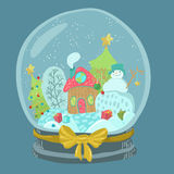 Snow globe with snowman and house with christmas tree Royalty Free Stock Image