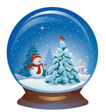 Snow globe with a snowman. Illustration of a snow globe with a cute snowman and a Christmas tree, isolated on white Royalty Free Stock Image