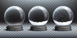 Snow globe templates. Empty glass snow globe and snow globes with snow on transparent background. Vector Christmas and. New Year design elements royalty free illustration