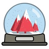 Snow globe with three Christmas trees stock illustration