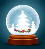 Snow globe with trees and gifts. Vector Vector Illustration