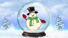 Snow Globe Waving Snowman stock video