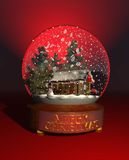 Snow_globe_winter_cabin Stock Photos