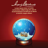 Snow Globe with Winter Landscape and House Royalty Free Stock Images
