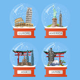 Snow globes with famous attractions Royalty Free Stock Images